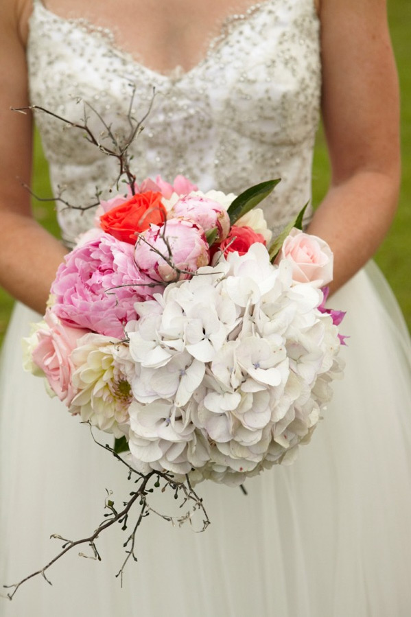 White, pink and coral DIY Wedding flower bouquet